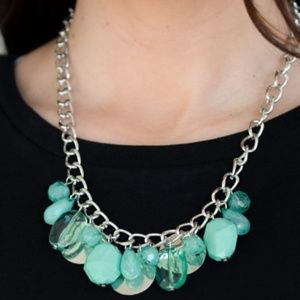 Green Mint Bead and Silver Necklace/ Earrings Set